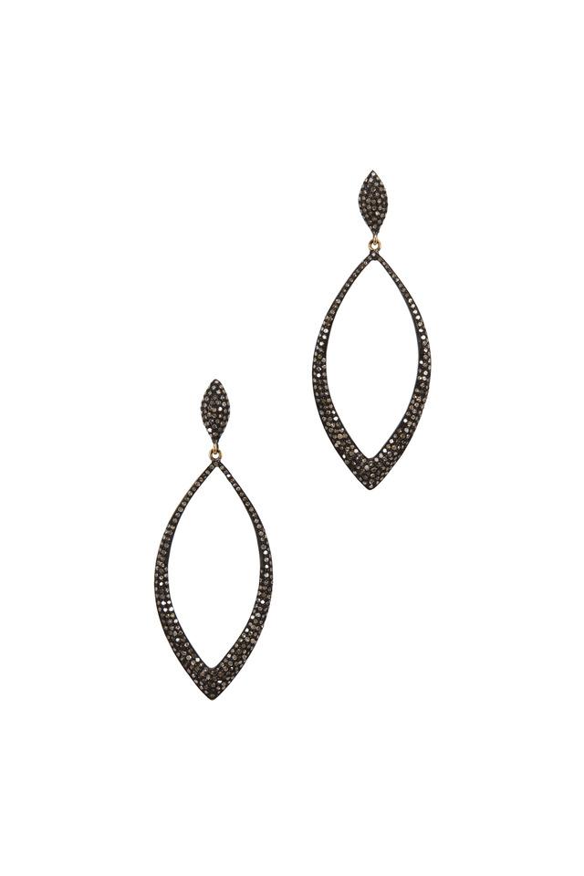 Black & White Gold Marquise Diamond Earrings