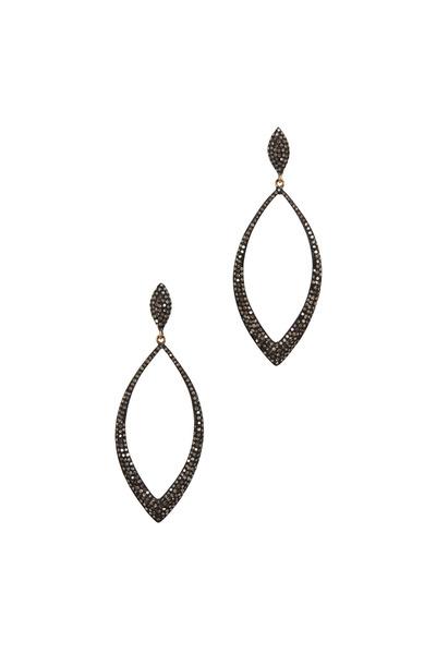 Loriann - Black & White Gold Marquise Diamond Earrings
