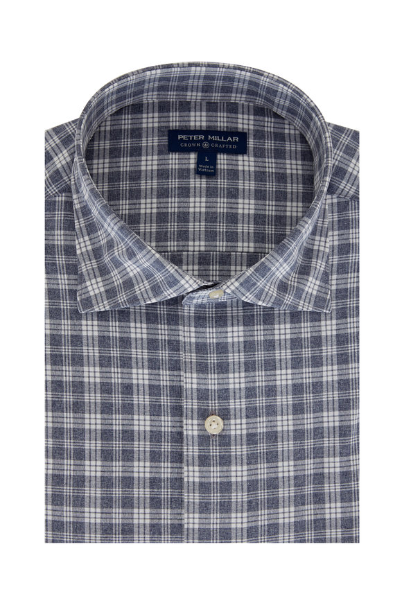 Peter Millar Carter Navy Blue Plaid Tailored Fit Sport Shirt