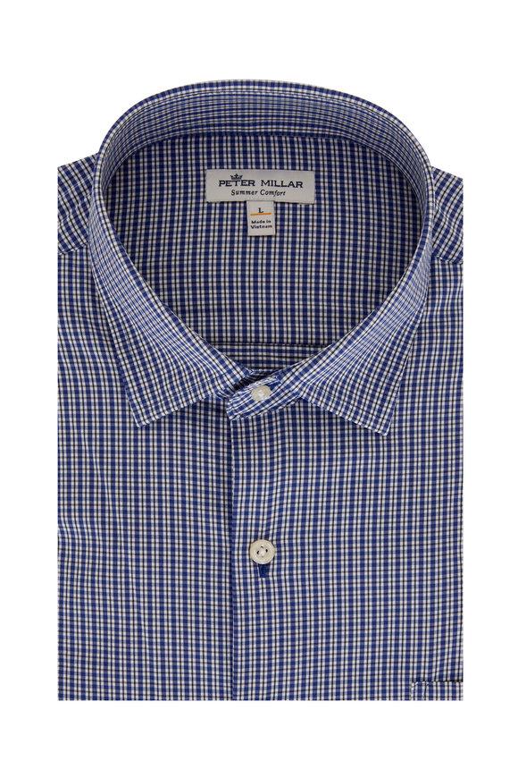 Peter Millar Reed Blue Check Performance Sport Shirt
