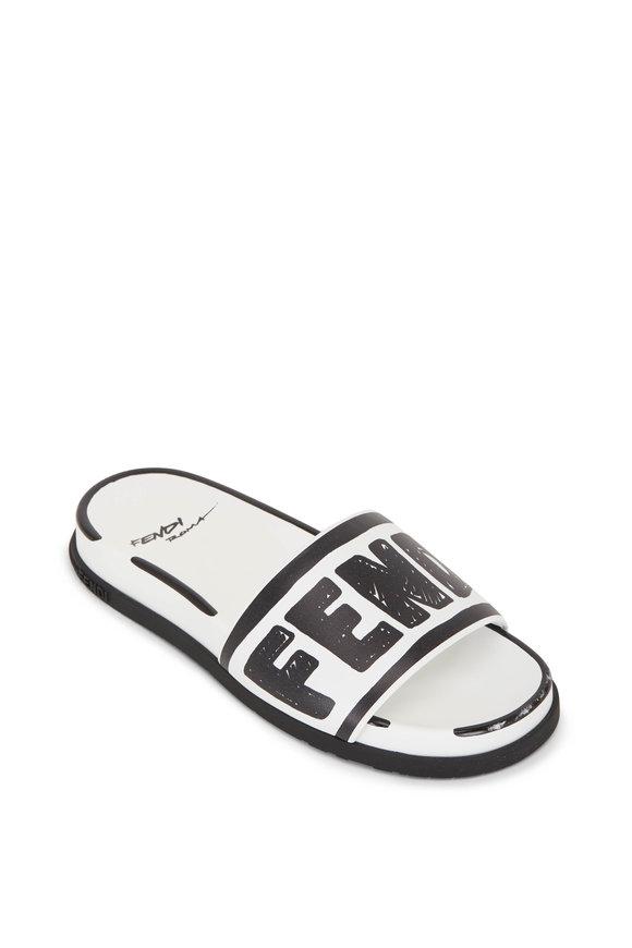 Fendi Black & White Leather Logo Pool Slide