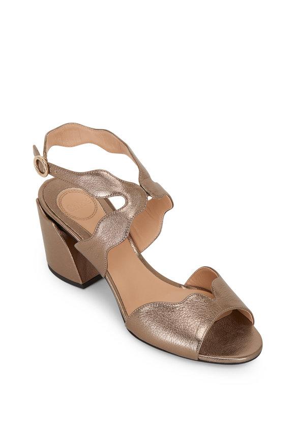 Chloé Lauren Silver Leather Scalloped Sandal, 60mm