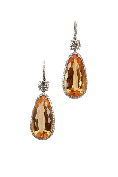 Eclat - Platinum Topaz & White Diamond Drop Earrings