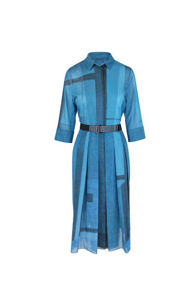 Akris - Cyan Windowpane Print Belted Shirtdress
