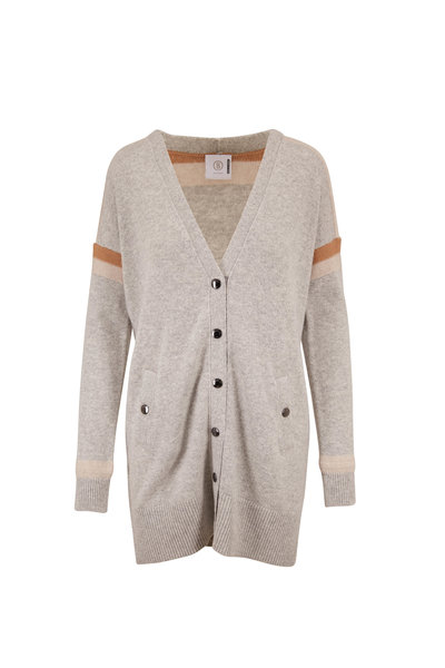 Bogner - Lea Gray & Taupe Striped Wool Blend Long Cardigan
