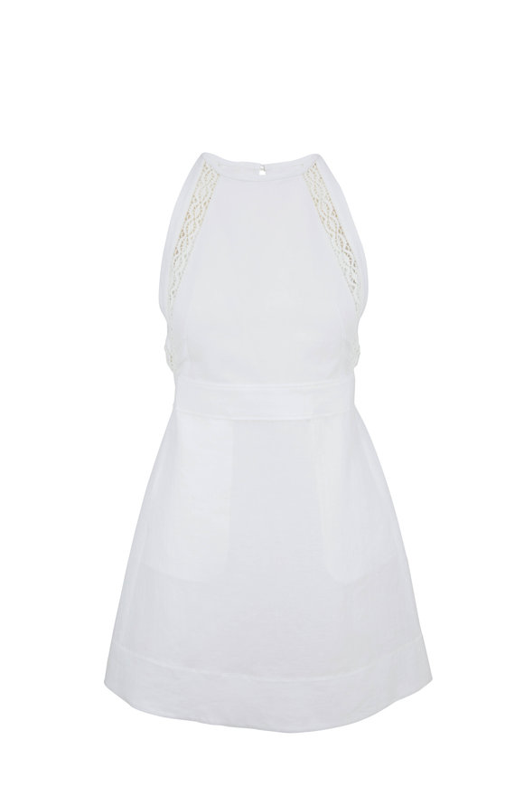 Chloé White Linen Lace Trim Sleeveless Sun Dress