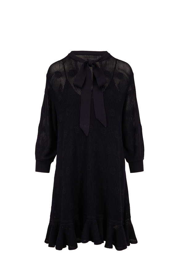 Chloé Navy Mesh Ruffled Hem Long Sleeve Dress
