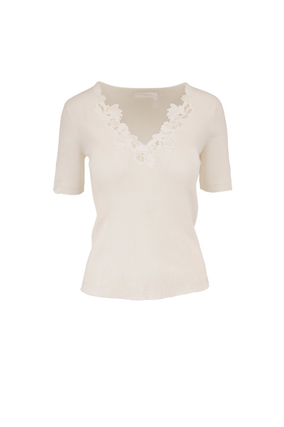 Chloé White Ribbed Short Sleeve Lace Detail Top