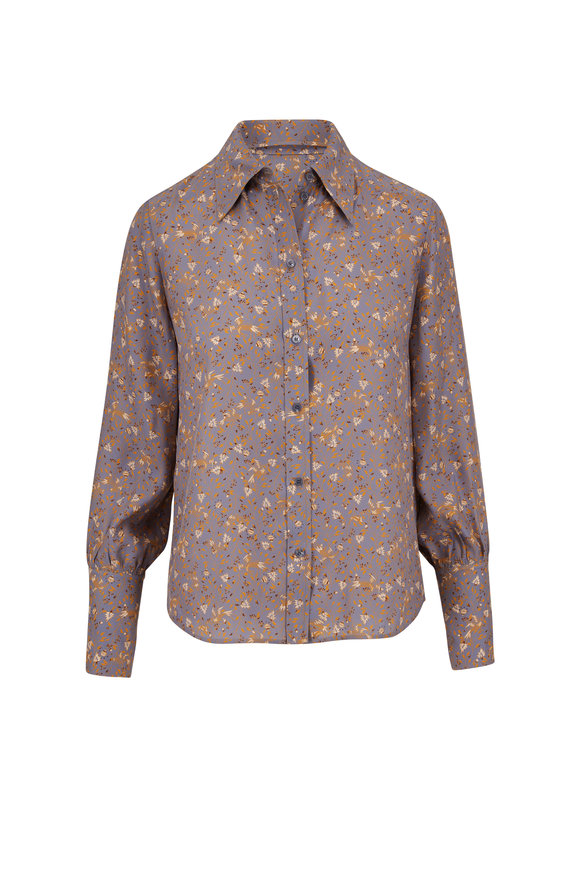 Chloé Blue & Yellow Silk Bird Print Blouse