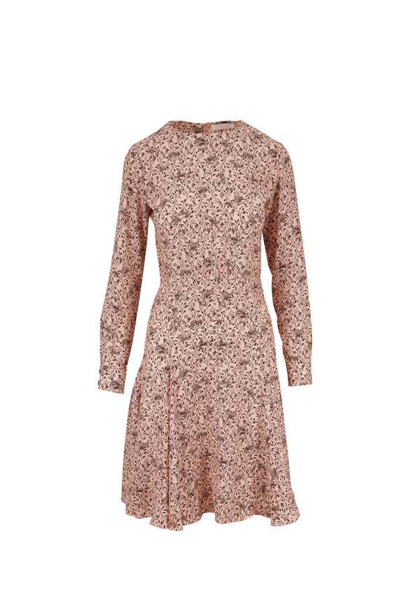Chloé Pink Silk Bird Print Long Sleeve Dress