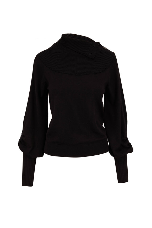 Chloé Black Wool Button-Neck Sweater