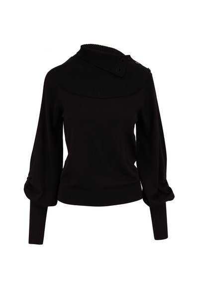 Chloé - Black Wool Button-Neck Sweater