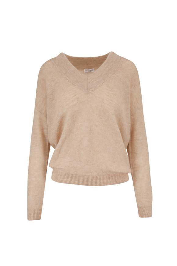 Brunello Cucinelli Sand Mohair & Lurex V-Neck Sweater