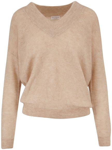 Brunello Cucinelli Sand Mohair & Lurex V-Neck Sweater