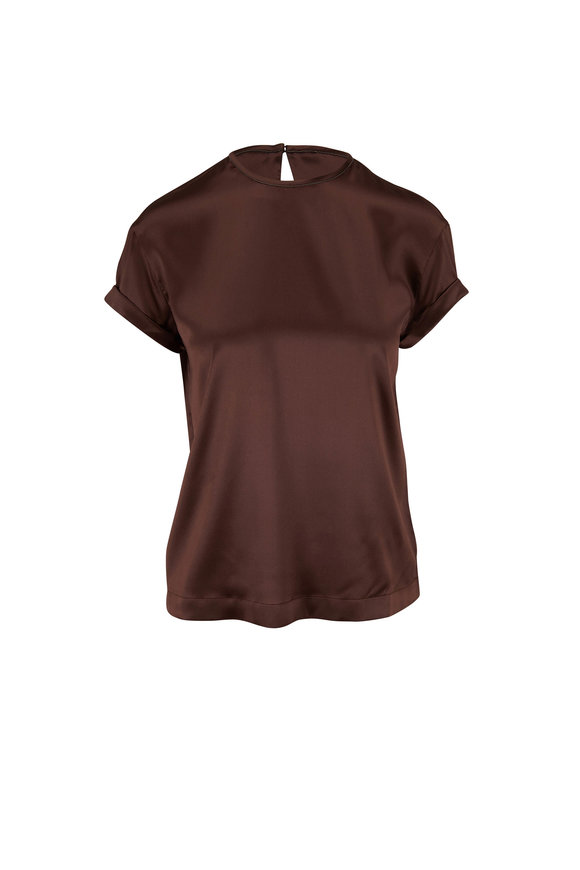 Brunello Cucinelli Chocolate Satin Monili Trim Top