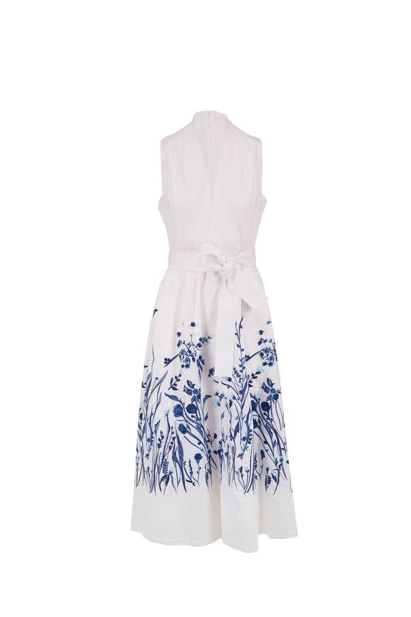 Lela Rose White Embroidered Sleeveless Shirtdress