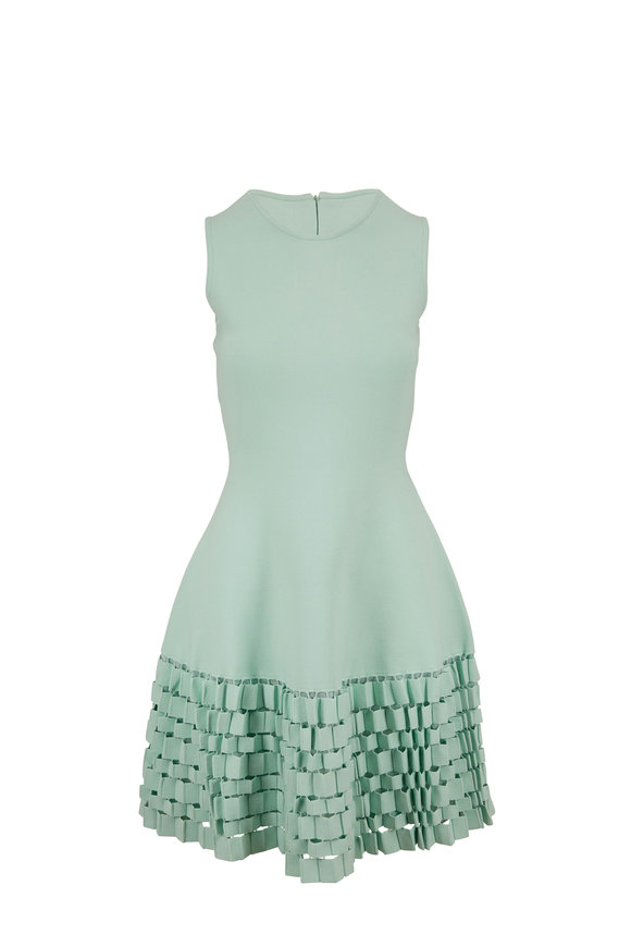 Lela Rose Mint Green Accordion Flare Hem Sleeveless Dress