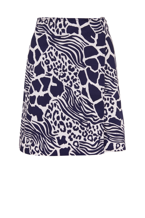 Adam Lippes Navy Giraffe Print Mini Wrap Skirt