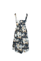 Oscar de la Renta - Navy Blue Floral Cotton Midi Sleeveless Dress