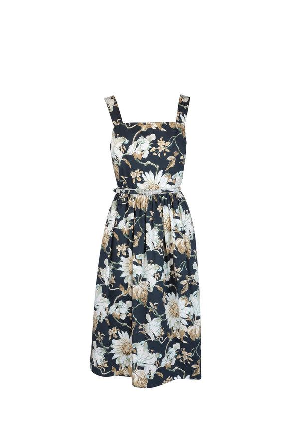 Oscar de la Renta Navy Blue Floral Cotton Midi Sleeveless Dress