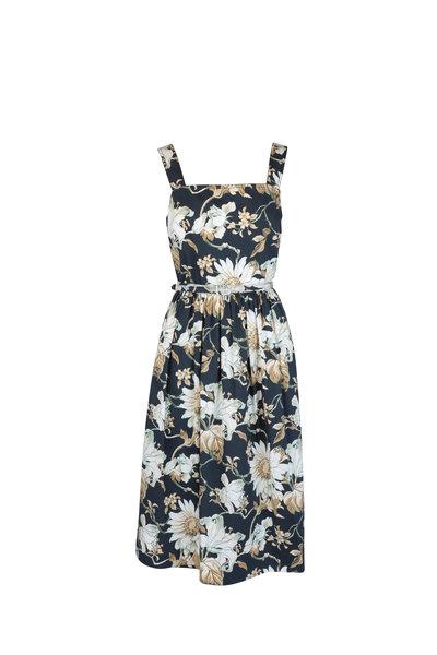 Oscar de la Renta - Navy Blue Floral Cotton Midi Sleeveless Dress