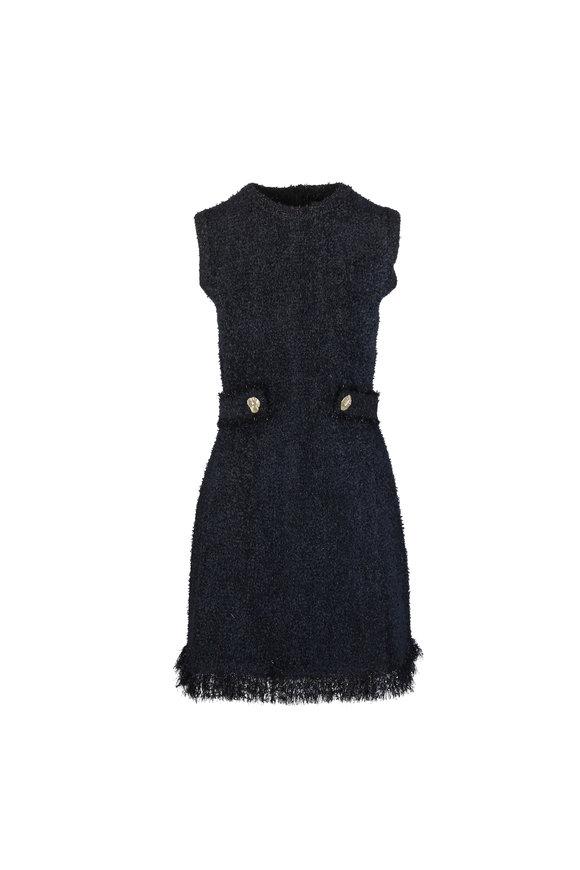 Oscar de la Renta Black Sleeveless Knit Mini Dress