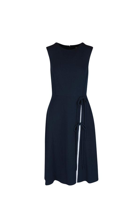 Oscar de la Renta Navy Blue Wool Blend Sleeveless Dress