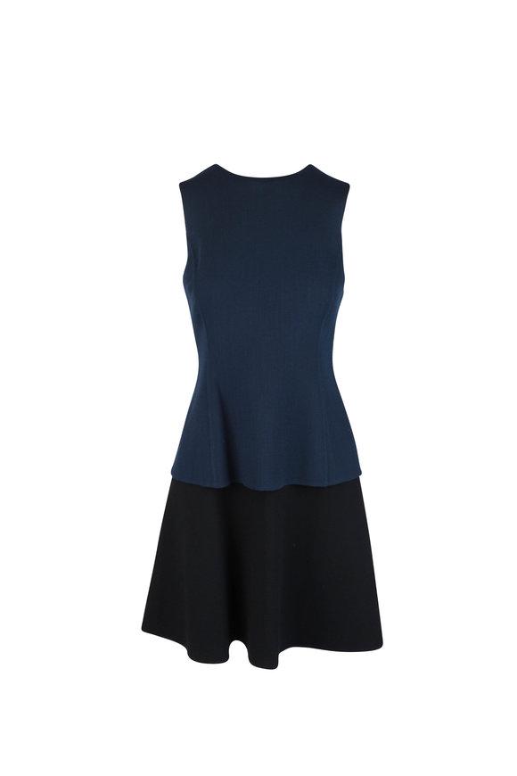 Oscar de la Renta Navy Blue & Black Layered Wool Sleeveless Dress