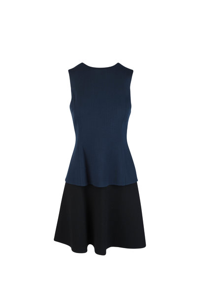 Oscar de la Renta - Navy Blue & Black Layered Wool Sleeveless Dress