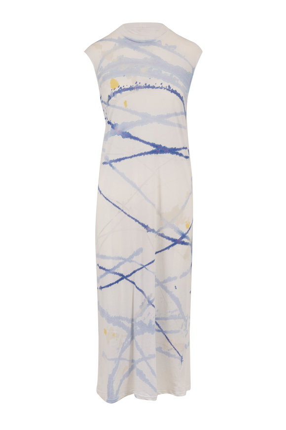 Raquel Allegra Violet Printed Sleeveless Maxi Dress