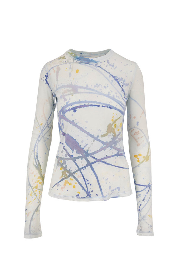 Raquel Allegra Violet Printed Fitted Long Sleeve T-Shirt