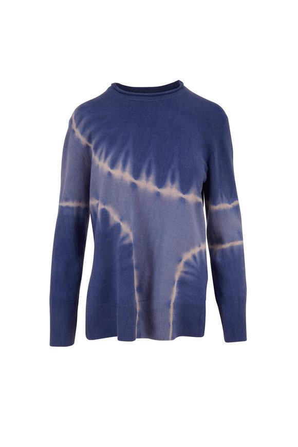 Raquel Allegra Blue Tie-Dye Cashmere Boyfriend Sweater