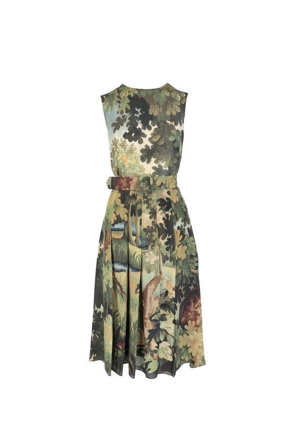 Oscar de la Renta Multicolor Silk Pleated Floral Sleeveless Dress