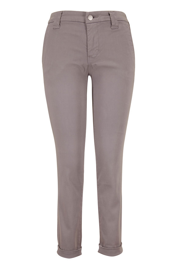 J Brand Paz Slim Taper Gray Luxe Sateen Cuffed Pant