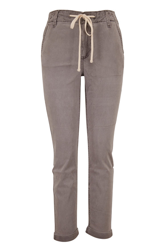 PAIGE Christy Vintage Grey Haze Drawstring Cuffed Pant