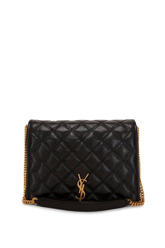 Saint Laurent Black Leather Quilted Chain Shoulder Bag