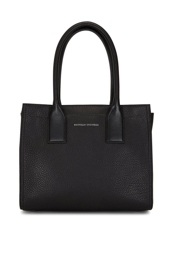 Brunello Cucinelli Black Textured Leather City Bag