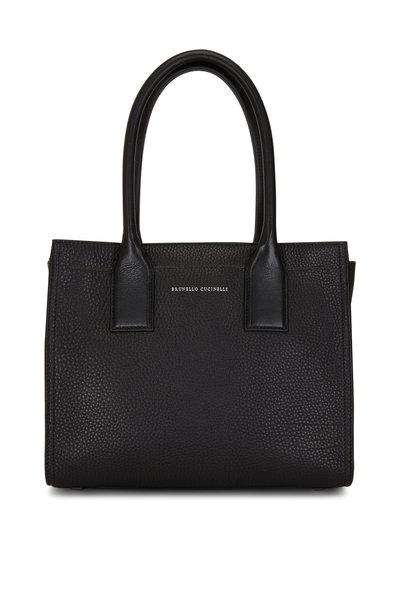 Brunello Cucinelli - Black Textured Leather City Bag