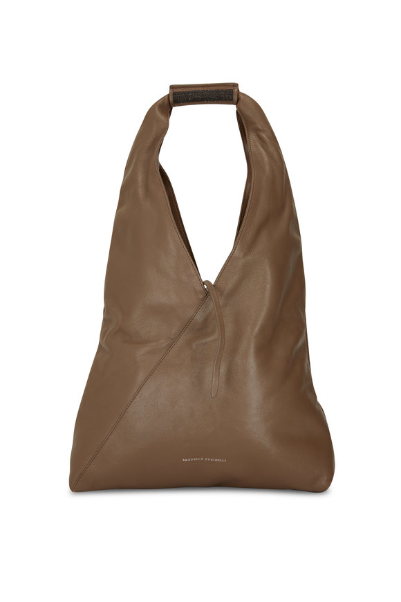 Brunello Cucinelli Caffe Shiny Leather Hobo Bag