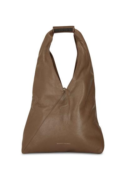 Brunello Cucinelli - Caffe Shiny Leather Hobo Bag