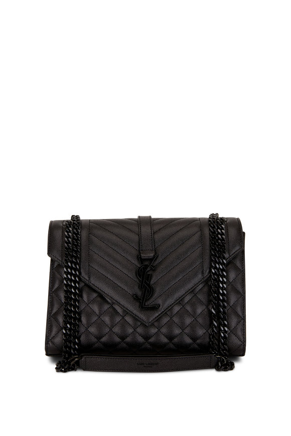 Saint Laurent Satchel Black Leather Quilted Medium Shoulder Bag