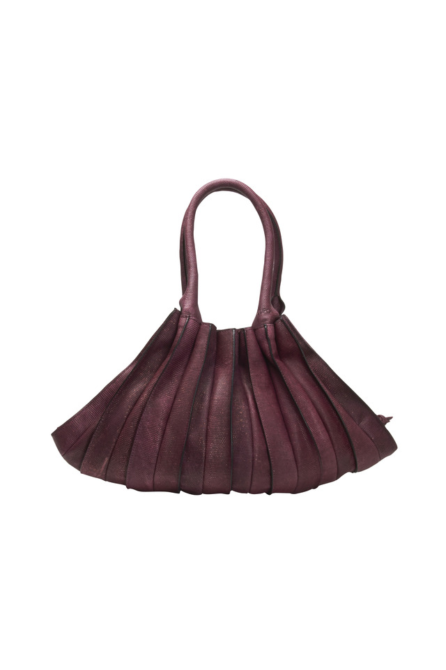 Abanico Bordeaux Leather Large Two Handle Bag