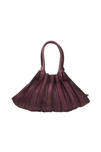 Lupo - Abanico Bordeaux Leather Large Two Handle Bag