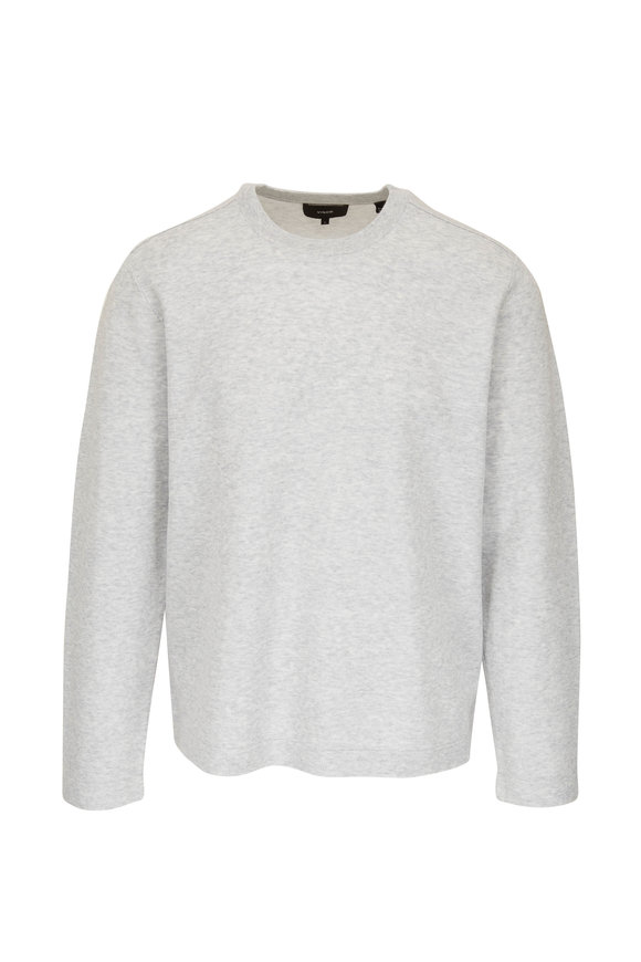 Vince Light Gray Meshfront Crewneck Pullover