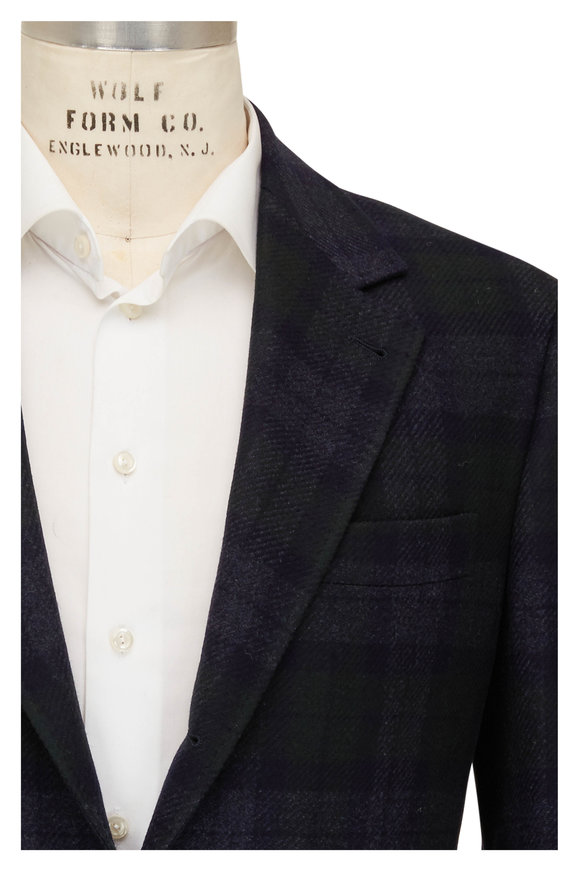 Brunello Cucinelli Black Watch Plaid Wool & Cashmere Sportcoat