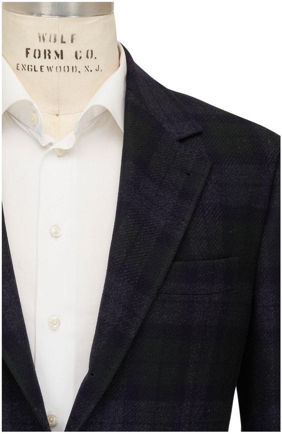 Brunello Cucinelli Black Watch Plaid Wool & Cashmere Sportcoat