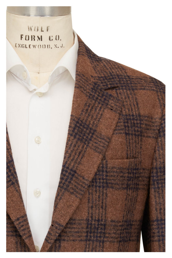 Brunello Cucinelli Brown, Caramel, & Blue Plaid Sportcoat