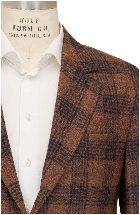 Brunello Cucinelli Brown, Caramel, & Blue Plaid Sportcoat