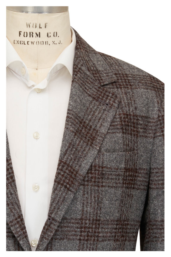 Brunello Cucinelli Gray & Burgundy Plaid Wool Sportcoat