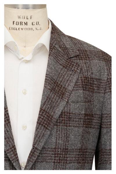 Brunello Cucinelli - Gray & Burgundy Plaid Wool Sportcoat